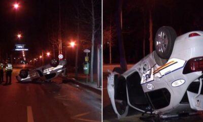 Newsbucuresti.ro:Accident între o mașină de Poliție și un autoturism. Autospeciala s-a răsturnat 10
